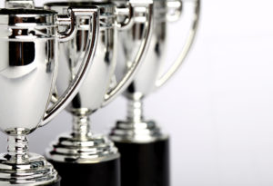 sports trophies waiting to be engraved at our Perth outlet