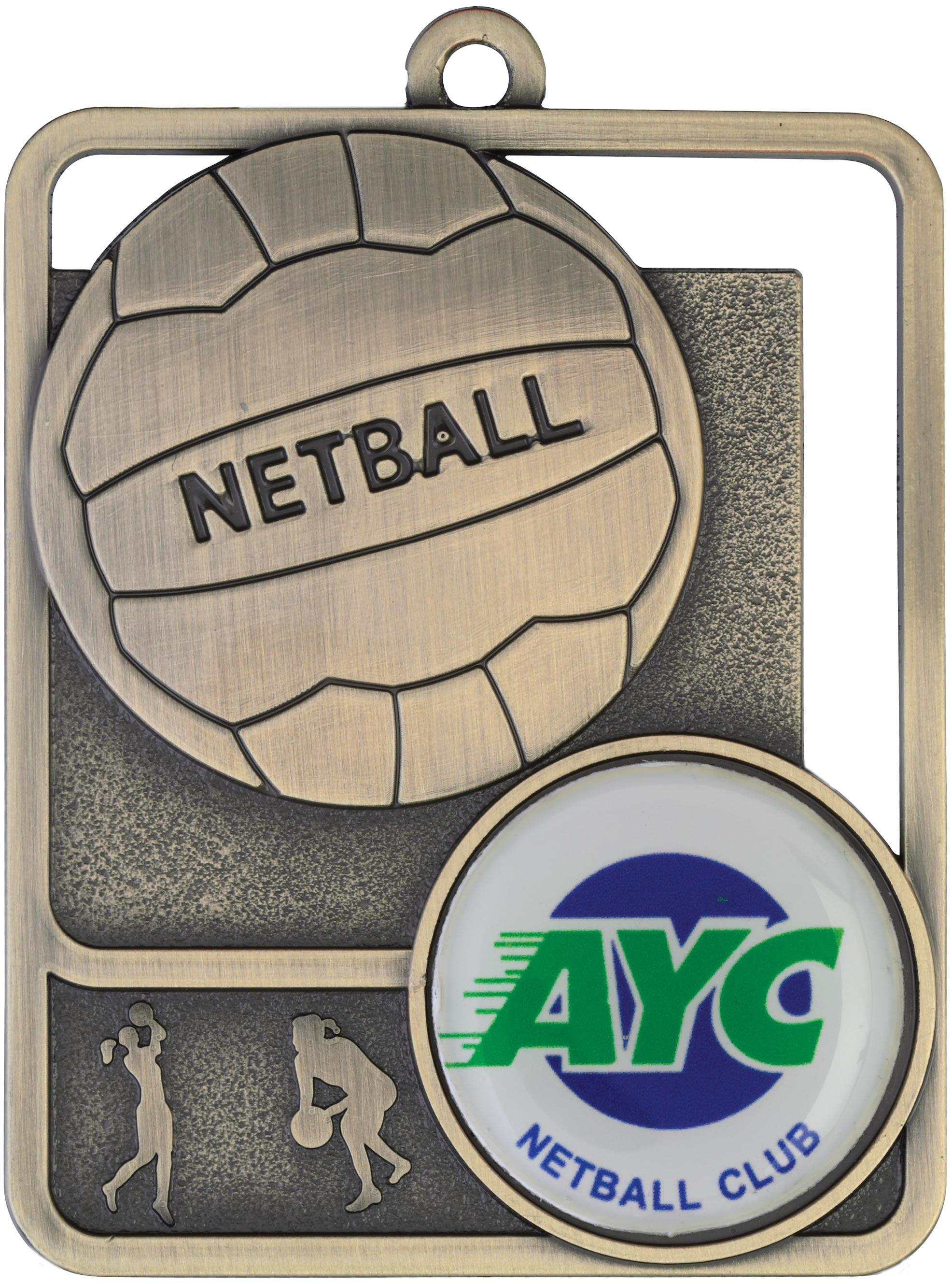 Netball Medal MR811G 61mm