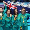 Australian swimming team in the olympics holding medals